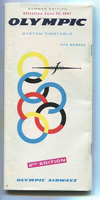 Olympic Airways Timetable Summer 1967 Oa 2Nd Edition