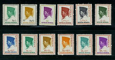 """1965 Indonesia stamps: President Sukarno With or without """"CONEFO"""" Issue,  MNH"""