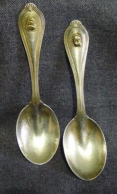 2 Roden Sterling Silver Baby Toddler Spoons Birks Gold Nugget Weight 38 Grams