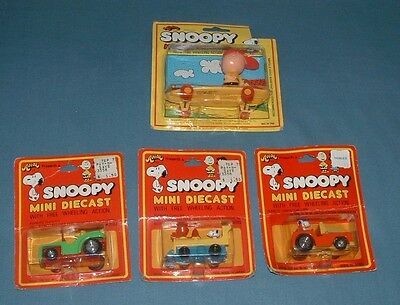 Set Of 4, Snoopy Mini Diecast Collectible Figures - Aviva - Moc - 1965