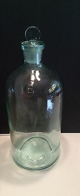 Blue Glass Apothecary Chemical Co Lab Bottle with Stopper J.T. Baker