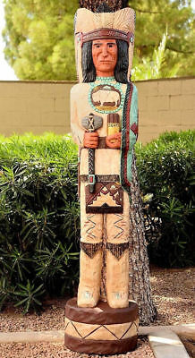 Gallagher 6' Wooden Cigar Store Indian w/Tomahawk The Scout Native American Made