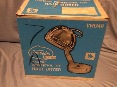 SUNBEAM VINTAGE 1972 PORTABLE PROFESSIONAL SALON TYPE HAIR DRYER IN ORG BOX pr