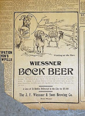 Rare 1910 Baltimore Newspaper Page - Weissner Bock Beer Ad