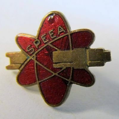 early SPEEA Atomic Nuclear electron logo screw post lapel or collar pin BOEING