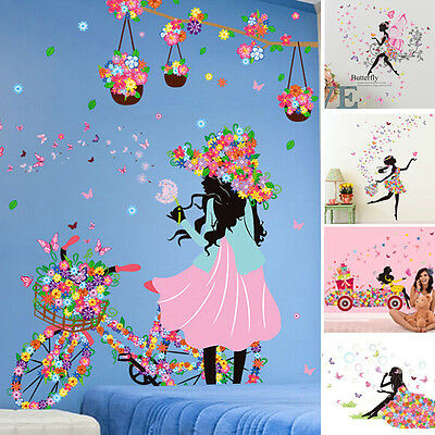 Room* Vinyl Decal DIY Home Kids Mural Decor Flower *Girl Butterfly Wall Sticker^