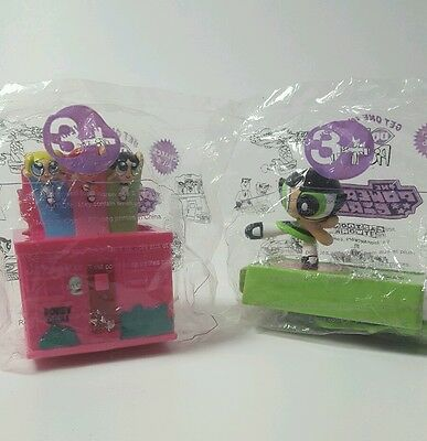 2 Powerpuff Girls Toys DQ 2001 Cake Toppers Buttercup Bubbles Blossom
