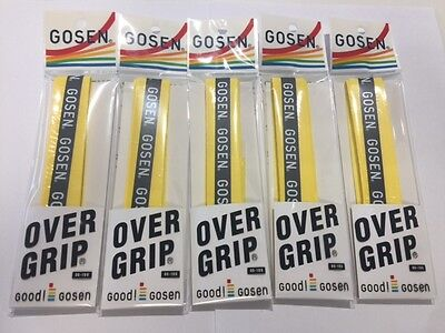 5 x GOSEN PREMIUM OVER GRIP FOR TENNIS SQUASH BADMINTON RACKET OG-106 YELLOW