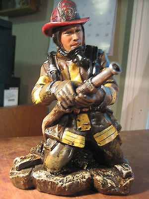 Vintage Style Fireman Work Sculpture Fdny Resin Man Cave Fire Fighter Statue Art