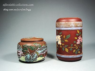 Two Chinese Yixing Clay Painted Tea Caddies, early 20th Century