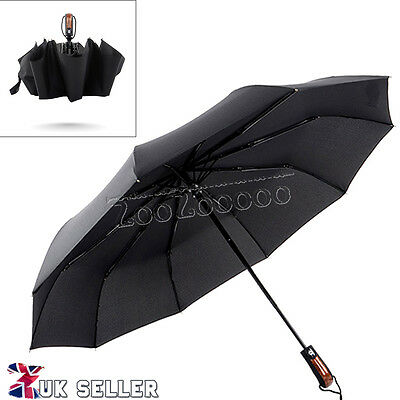 Men Women Automatic Open & Close Windproof Compact Travel Black Umbrella Brolly