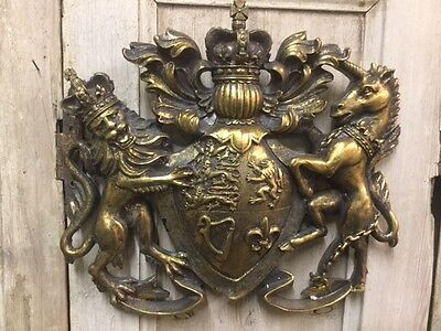 Heraldic Crest 'Coat Of Arms' Lion & Unicorn Antique Gold Wall Hanging