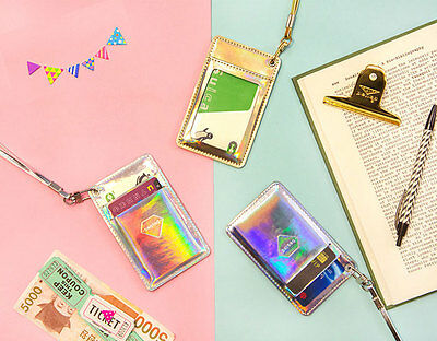 ID Card Badge Holder Unisex Hologram Case Purse Wallet Lanyard Necklace Strap