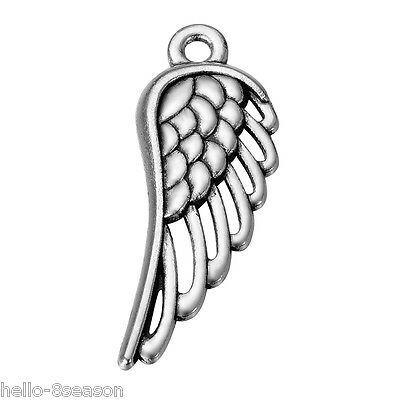 100PCs Fashion Silver Alloy Hollow Angel Wings Small Pendant Jewelry 33mmx12mm