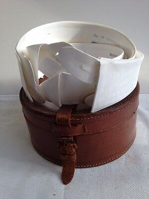 Vintage early 20th Century leather collar box + 5 tuxedo dress collars