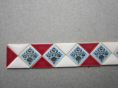 """Strip of 22 miniature ceramic Tiles by TERRY CURRAN  6 1/2""""sq's 16 triangles"""