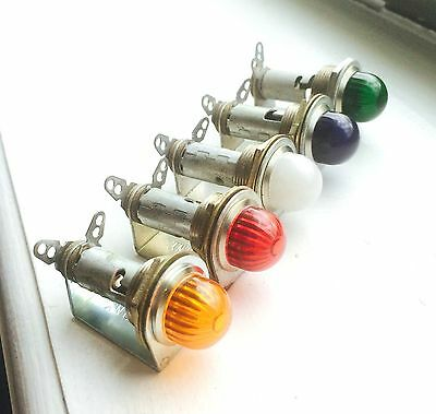 Vintage AMBER RED GREEN BLUE CLEAR Beehive lenses dash lights DIALCO Mix-n-Match