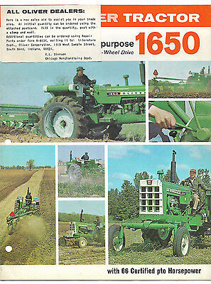 1969 Oliver 1650 Tractor Brochure Row Crop Wheatland Ricefield 4-Wheel Drive