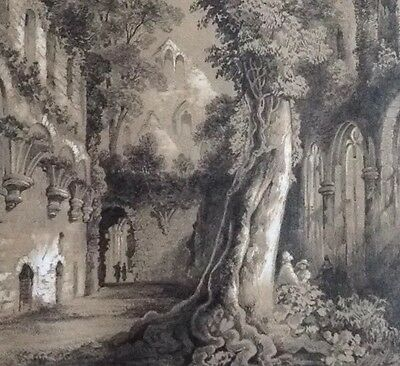 Extremely Fine Victorian Pencil Drawing of Abbey Ruin. Signed and dated 1868.