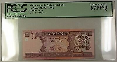 SH1381 (2002) Afghanistan 1 Afghani Bank Note SCWPM# 64a PCGS GEM 67 PPQ