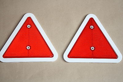 2 x Red Reflector Triangles White Surround Screw-fit for car trailer caravan