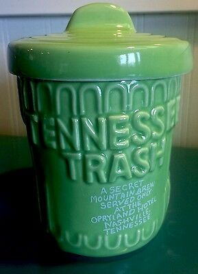 Opryland Tennessee Trash Can Mug Tumbler Ceramic Cup & Lid EUC