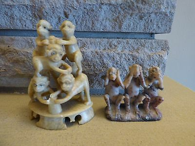 2 vintage 30's hand carved monkey figures chinese soapstone 5 monkies & no evil