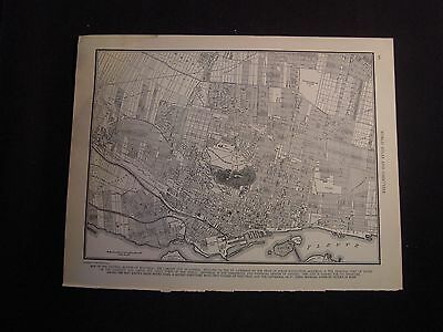 Vintage 1940 B&W Map of Montreal from Colliers World Atlas