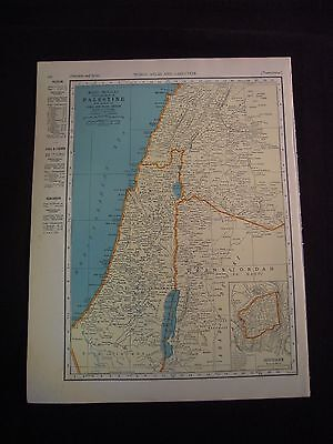 Vintage 1940 Color Map of Palestine from Colliers World Atlas