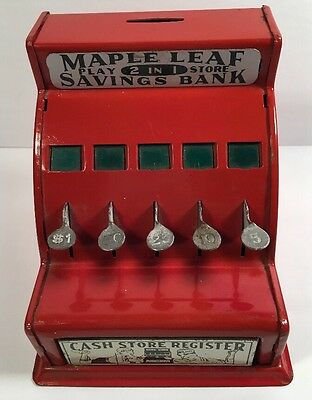Vintage Red Metal Maple Leaf 2 In 1 Play Store Save` Coin Bank Toy Cash Register
