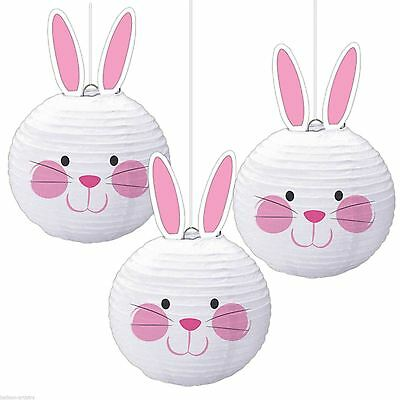 *Pack Of 3 Easter Party Cute White Hanging Bunny Paper Ball Lantern Decorations*