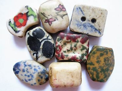 Loose beads. 8 Handmade vintage ceramic beads. 10mm x 20mm.