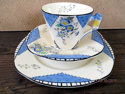 Vintage / Art Deco China Tea Set Trio.Burleigh Ware Imperial .Maytime.British