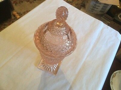 Pink Quilted Covered  Lid Candy Dish / Trinket Jar , Tall 11 1/2 Inches
