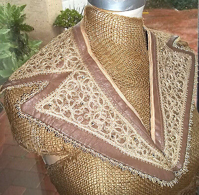 Interesting pre 1940's brown Kidd Leather Lace large Notched Collar Lined Satin