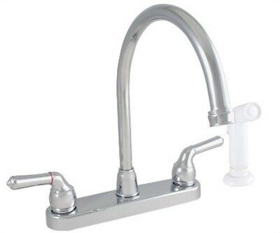 LDR 952 36425CP Exquisite Kitchen Faucet, Gooseneck, Dual Tulip Handle, With Whi