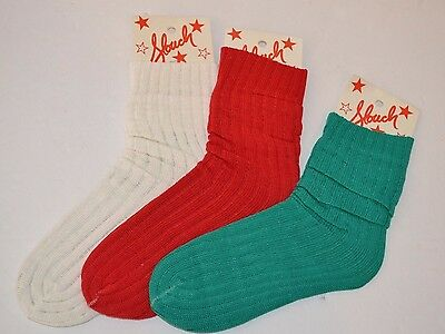 Vintage 1980's 3 Pairs SLOUCH Bunch Push Down SOCKS Red Green White One SIze