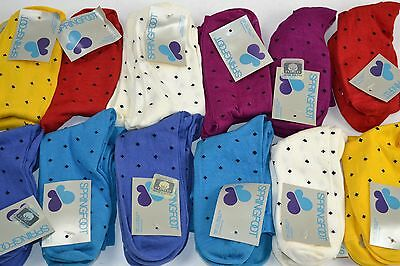 Vtg 70's Lot 24 Pairs SPRINGFOOT Mercerized Cotton Socks w/ Design Ladies 9-11