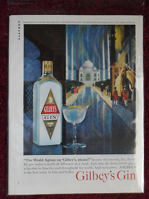 1963 Print Ad Gilbeys Gilbey's Gin ~ Taj Mahal India Howard KOSLOW ART Page