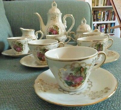 17 piece Fine China Victorian Tea Demitasse Set Made In Japan - Courting Couple