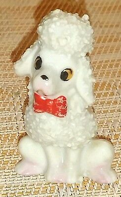 VINTAGE JAPAN Cute white Spaghetti Hair Poodle dog with Red Bow