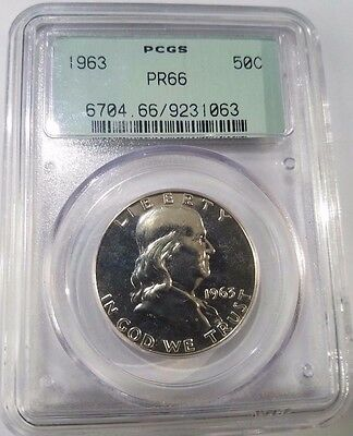 1963 50c Silver Proof Franklin Half Dollar PCGS PR 66 Old Style Free Ship!