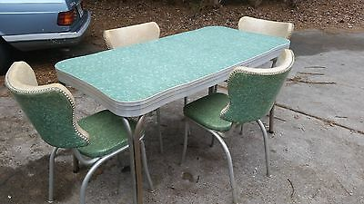Vintage 1950's Green Cracked Ice Formica And Chrome Dining Table & 4 Chairs