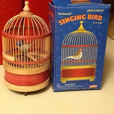 Animated Singing Bird In Cage Wind Up Bird Moves And Chirps