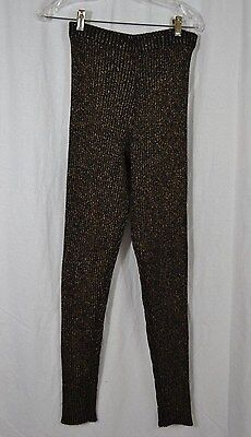 VINTAGE 1980s L'ULTIMA black and gold lurex ribbed knit leggings ONE SIZE