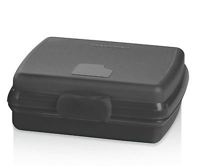 New Tupperware Sandwich Keeper Lunch Box Black Hinged No Lost Lids New