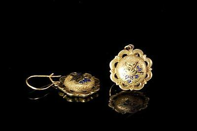 Antique Early Victorian Gold Filled Enamel Bird Mourning Earrings (010317021)
