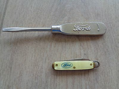 Vintage 1919 Ford Advertising Screwdriver & Grand Rapids Ford Dealers Tiny Knife