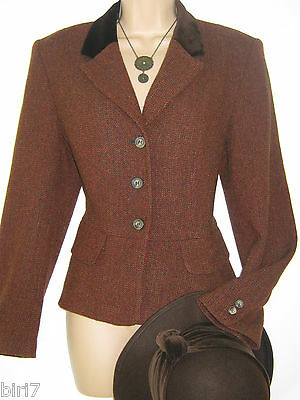 Laura Ashley Vintage Color Prugna A Spina Di Pesce Country Giacca/hacking