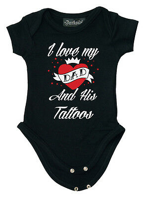 DARKSIDE CLOTHING I Love My Dad and His Tattoos BABYGROW/BABY GROW/ROMPER biker